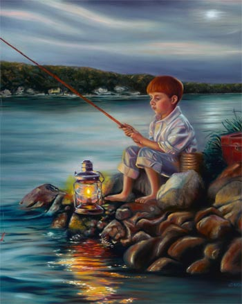 Fishing at Dusk - oil painting by Sharon Lange